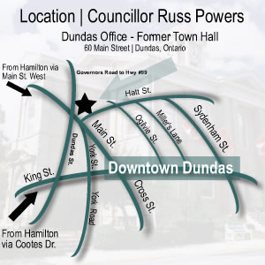 Location Map for Dundas Municipal Service Centre and Councillor Russ Powers' Office